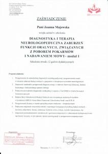 Certyfikat z diagnostyki i terapii neurologopedycznej